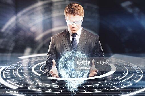 Businessman holding digital model : Foto de stock