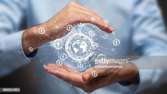 Businessman holding in hand a global connection,communications concept : Stock Photo