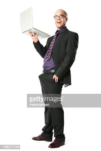 Businessman Holding Laptop : Stock Photo