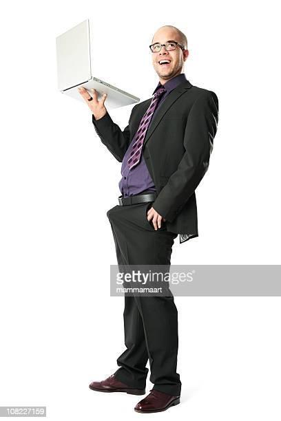 Homme d'affaires tenant un ordinateur portable