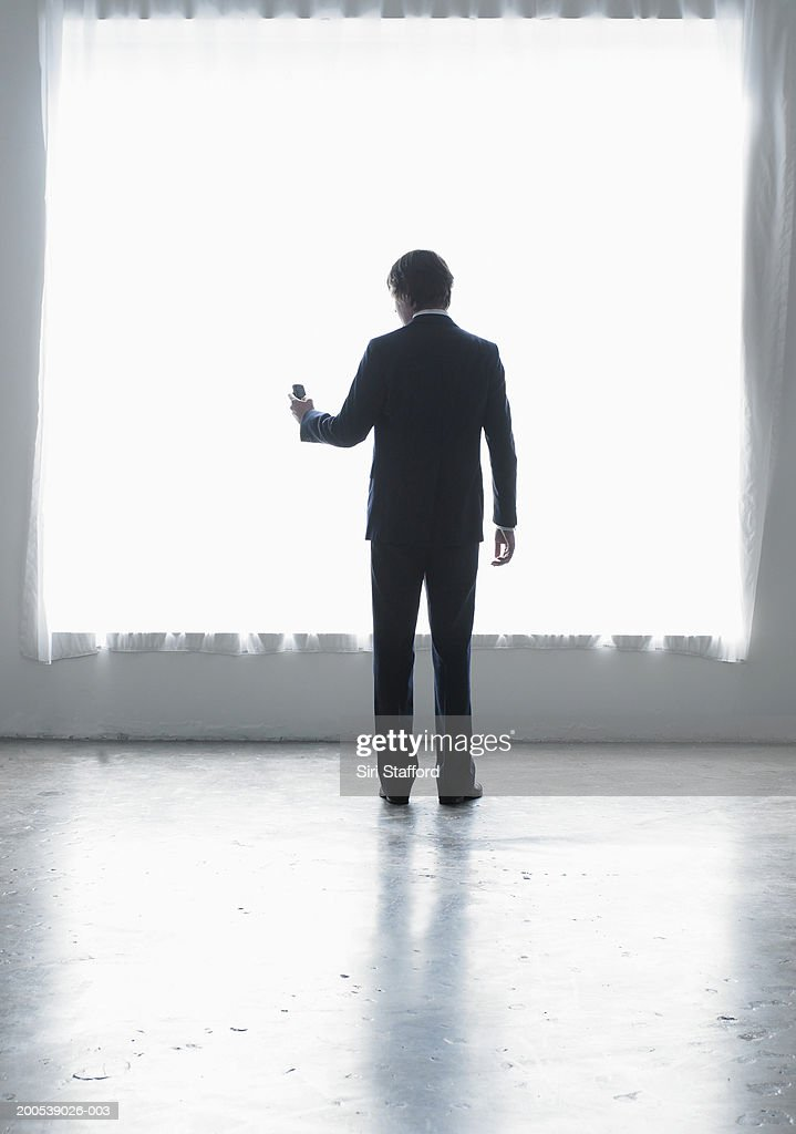 Businessman holding mobile phone, rear view