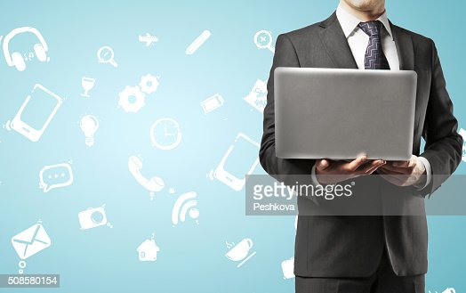 businessman holding notebook : Stock Photo