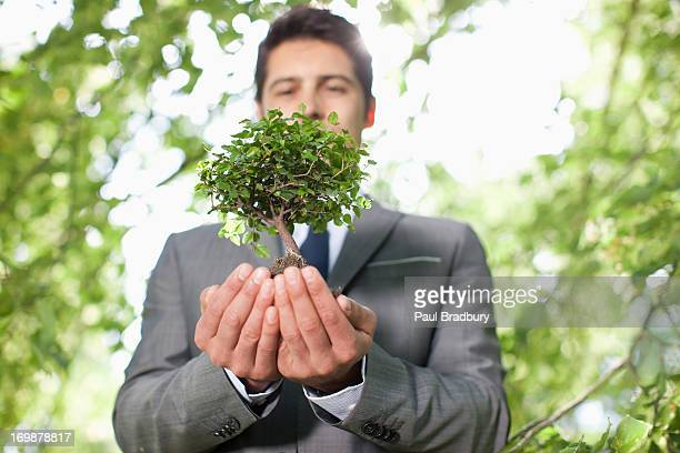 Businessman holding plant outdoors