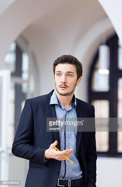 Businessman holding presentation