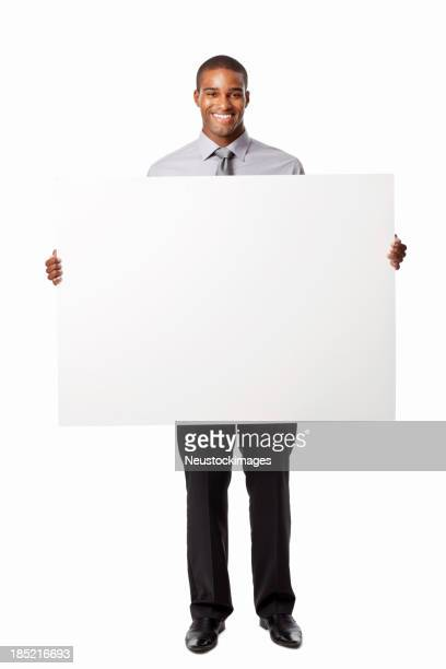 Businessman Holding Up a Blank Sign - Isolated