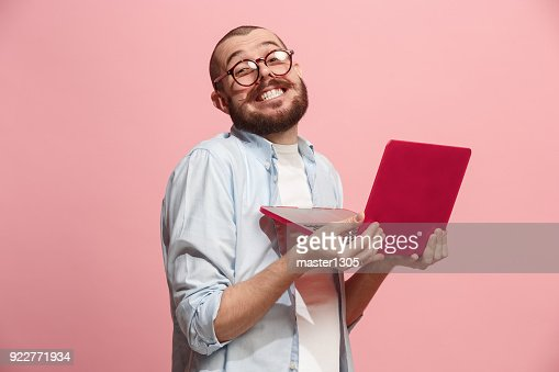 Businessman hugging laptop : Foto de stock