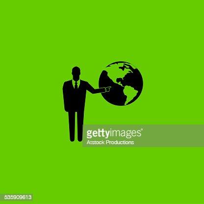 Icono de negocios apuntando en el mundo : Foto de stock
