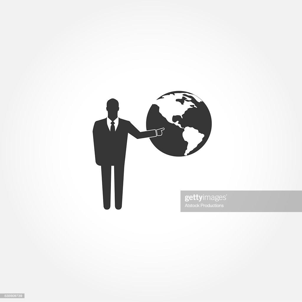 Geschäftsmann Symbol zeigt auf der ganzen Welt : Stock-Foto