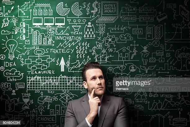 Geschäftsmann Idee Konzept auf Tafel