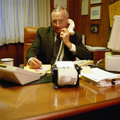 Businessman in a 1970's Style Office