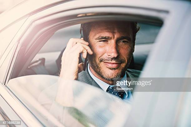 Businessman in a car