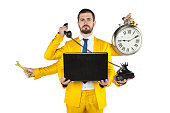 businessman in a golden suit is very well organized