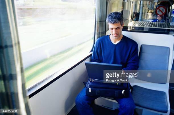 Businessman in a Monorail