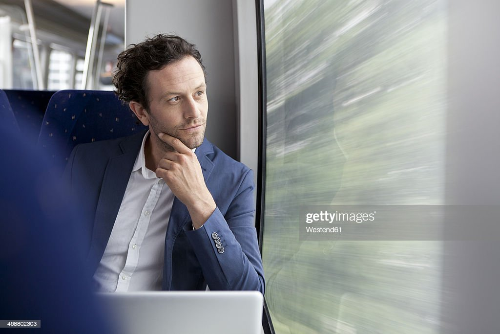 Businessman in a train