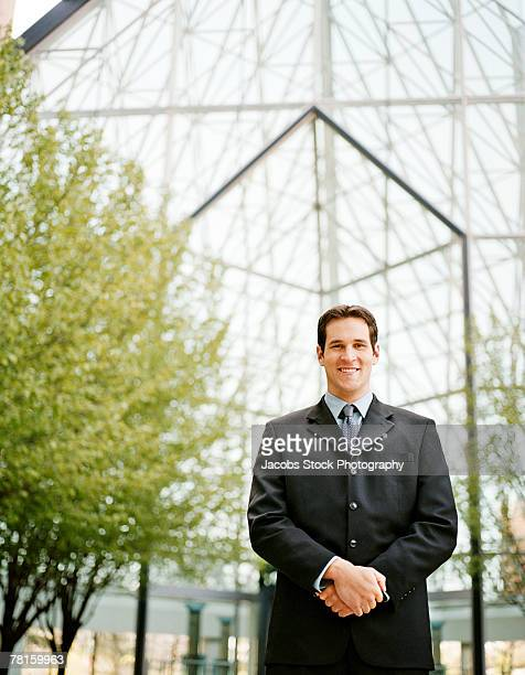 Businessman in atrium