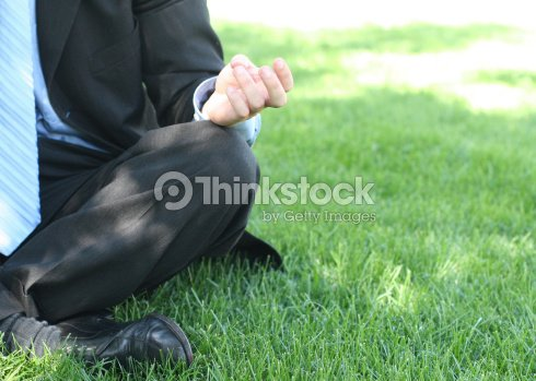 Businessman in black suit, blue shirt, and blue tie is sitting meditation style in the green grass : Stock Photo