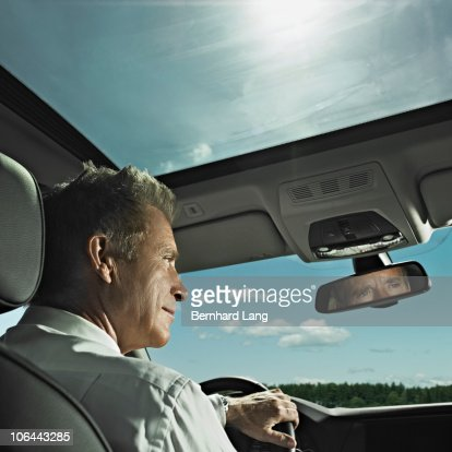 Businessman in car : Stock Photo