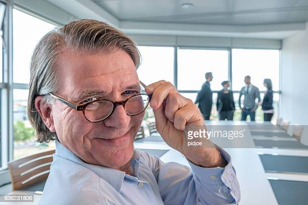 businessman in contemporary board room