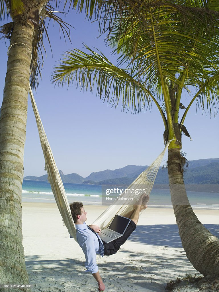 Businessman in hammock using laptop : Stock Photo