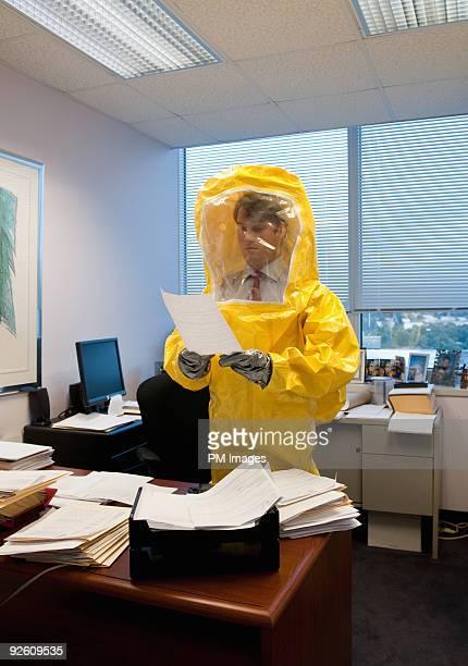 Businessman in Hazmat suit