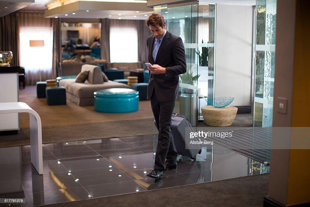 Businessman in hotel lobby