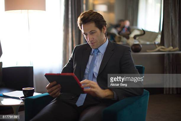 Businessman in hotel lobby