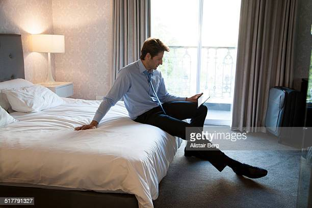 Businessman in hotel room