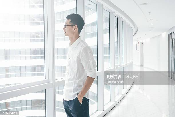 Businessman in office building
