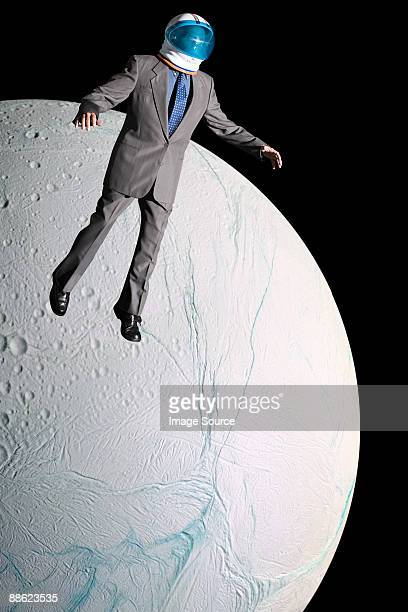 Businessman in outer space