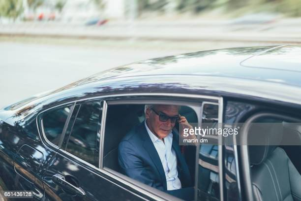 Businessman in taxi