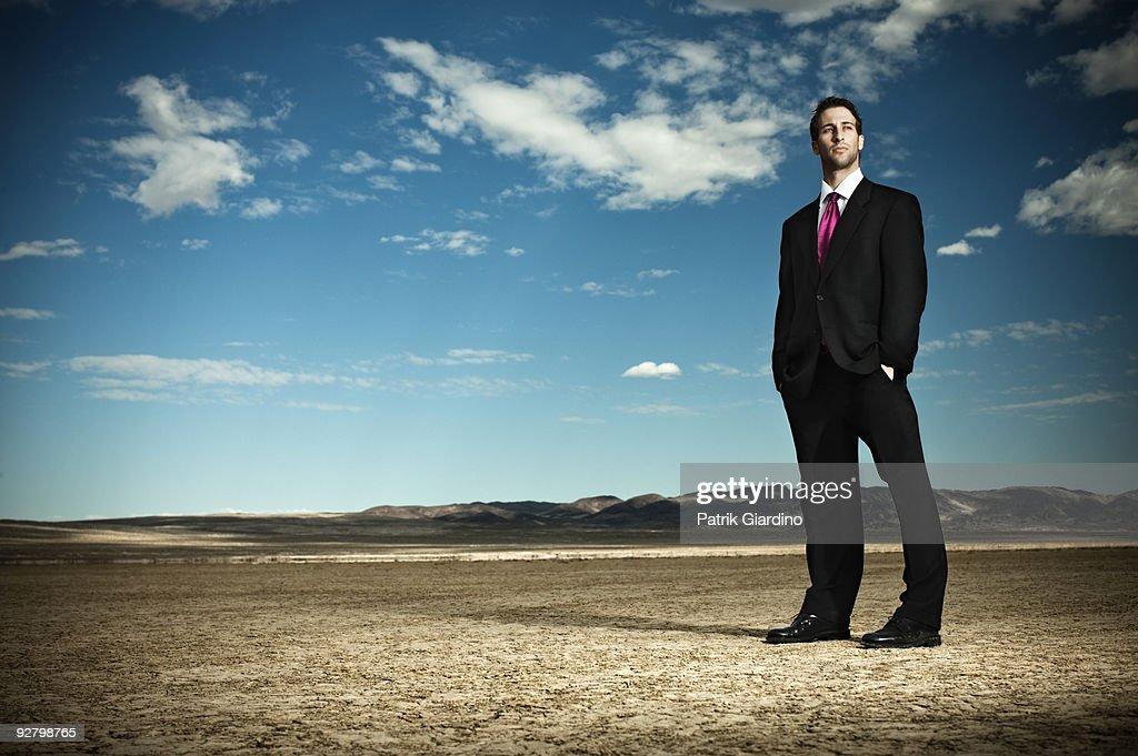 Businessman in the Desert : Stock Photo