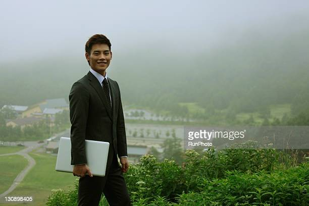 businessman in the forest