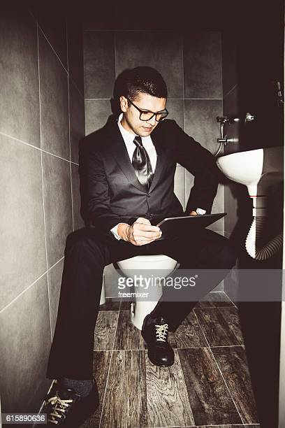 Businessman in the restroom