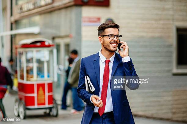 Businessman in Turkey Talking on the Phone