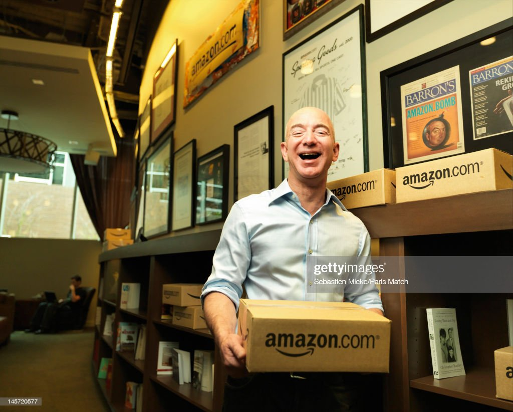 Businessman <a gi-track='captionPersonalityLinkClicked' href=/galleries/search?phrase=Jeff+Bezos&family=editorial&specificpeople=217573 ng-click='$event.stopPropagation()'>Jeff Bezos</a> photographed at Amazon headquarters for Paris Match on February 13, 2012 in Seattle, Washington.
