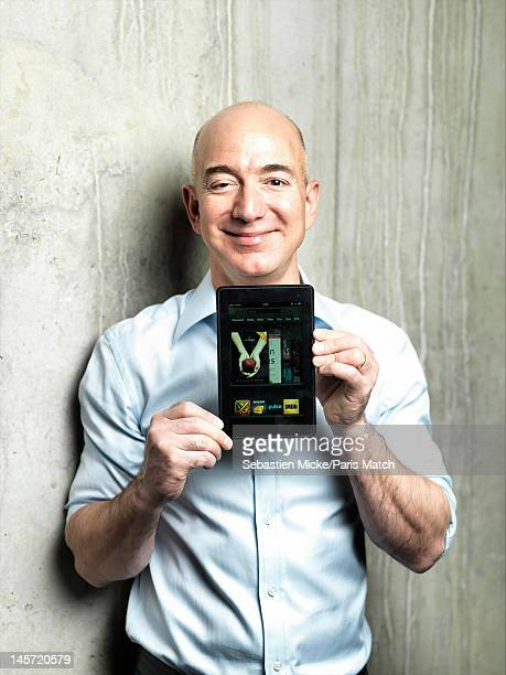 Businessman Jeff Bezos presenting the Kindle photographed at Amazon headquarters for Paris Match on February 13 2012 in Seattle Washington