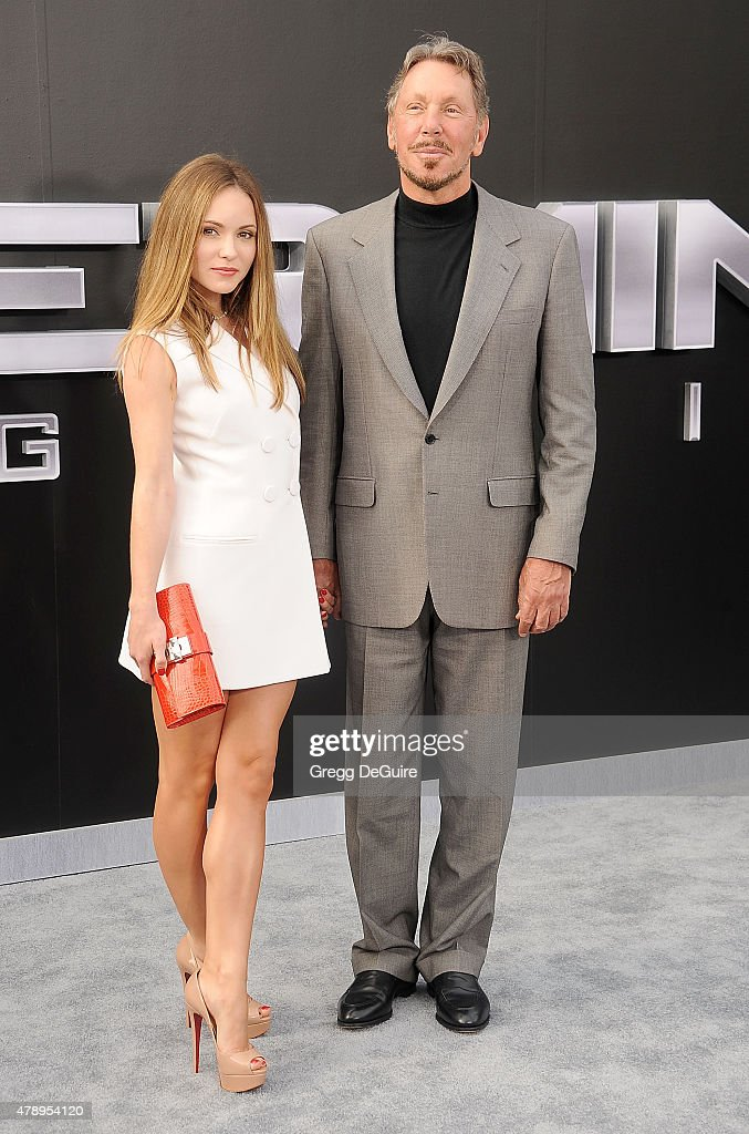 Businessman Larry Ellison and Nikita Kahn arrive at the Los Angeles premiere of 'Terminator Genisys' at Dolby Theatre on June 28, 2015 in Hollywood, California.