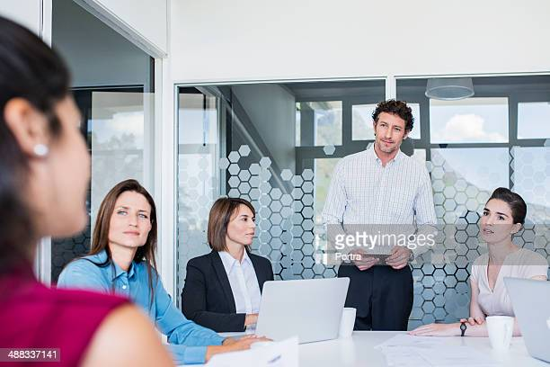 Businessman leading a project meeting