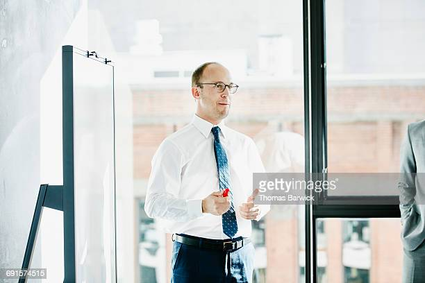 Businessman leading project discussion