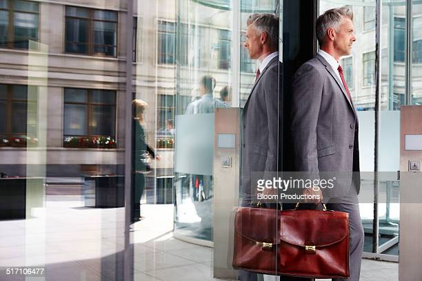 Businessman leaving an office