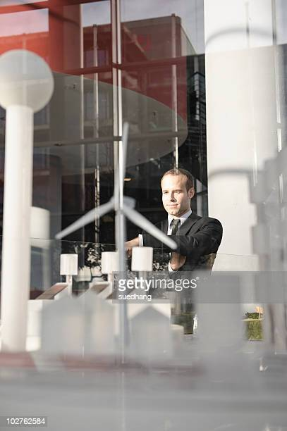 Businessman looking at an architectural