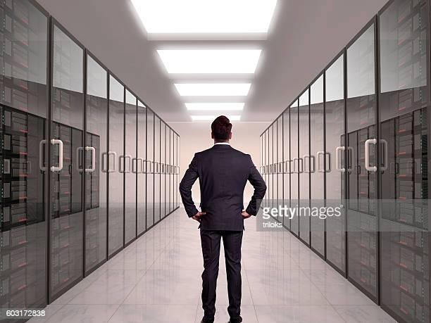 Businessman looking at server