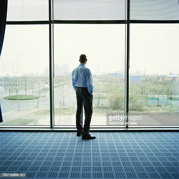 Businessman looking out of office window, rear view