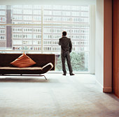 Businessman looking out of window, rear view