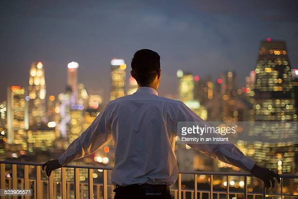 Businessman looking out over city at night