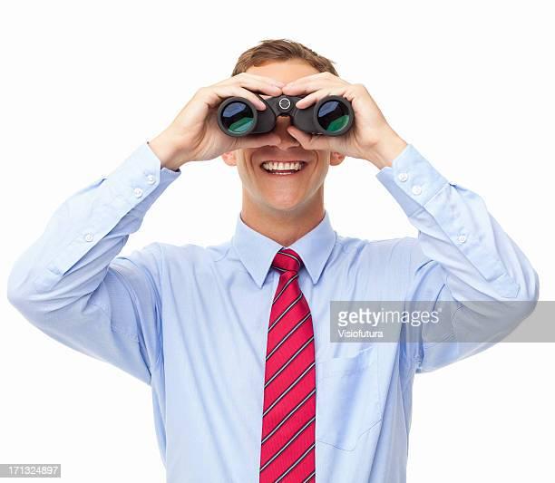 Geschäftsmann Blick durch das Fernglas-isoliert