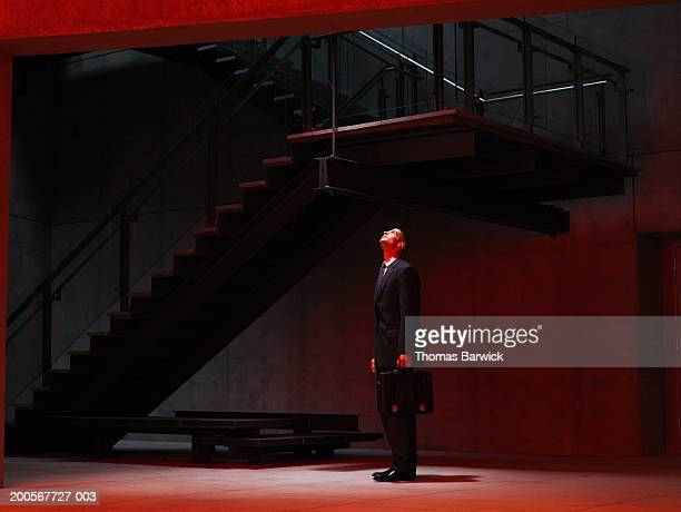 Businessman looking up stairwell, side view