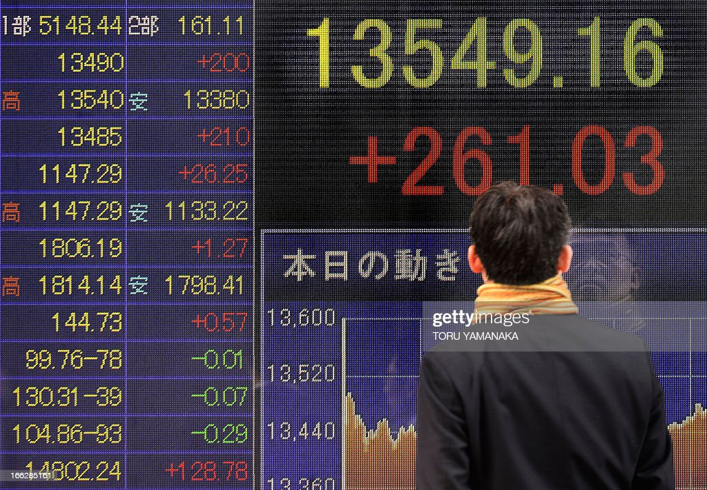 A businessman looks at an electric quotation board flashing the Nikkei key index of the Tokyo Stock Exchange (TSE) in front of a securities company in Tokyo on April 11, 2013. Tokyo stocks rallied further on April 11, closing at their highest level since July 2008 with exporters the main beneficiaries as the dollar approaches the 100 yen mark. AFP PHOTO/Toru YAMANAKA
