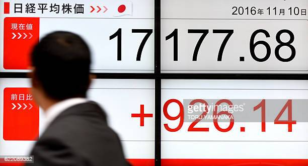 A businessman looks at an electric quotation board flashing the Nikkei key index of the Tokyo Stock Exchange in front of a securities company in...