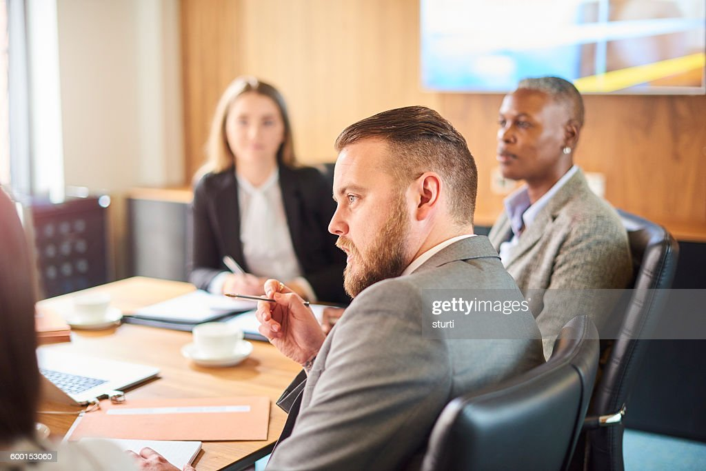 businessman making his point : Stock Photo